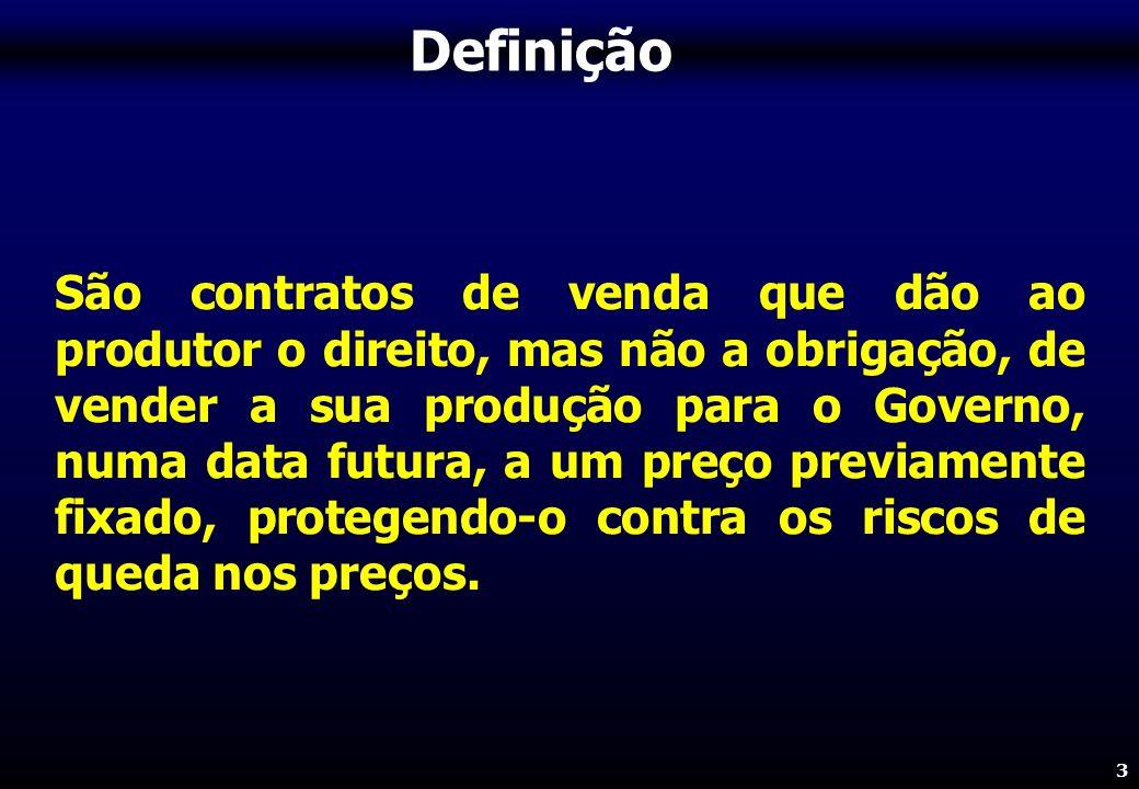 3 São contratos de venda que dão ao produtor o direito, mas não a obrigação, de vender a sua produção para o Governo, numa data futura, a um preço previamente fixado, protegendo-o contra os riscos de queda nos preços.