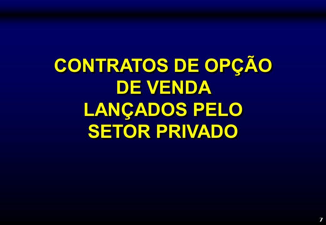 7 CONTRATOS DE OPÇÃO DE VENDA LANÇADOS PELO SETOR PRIVADO CONTRATOS DE OPÇÃO DE VENDA LANÇADOS PELO SETOR PRIVADO