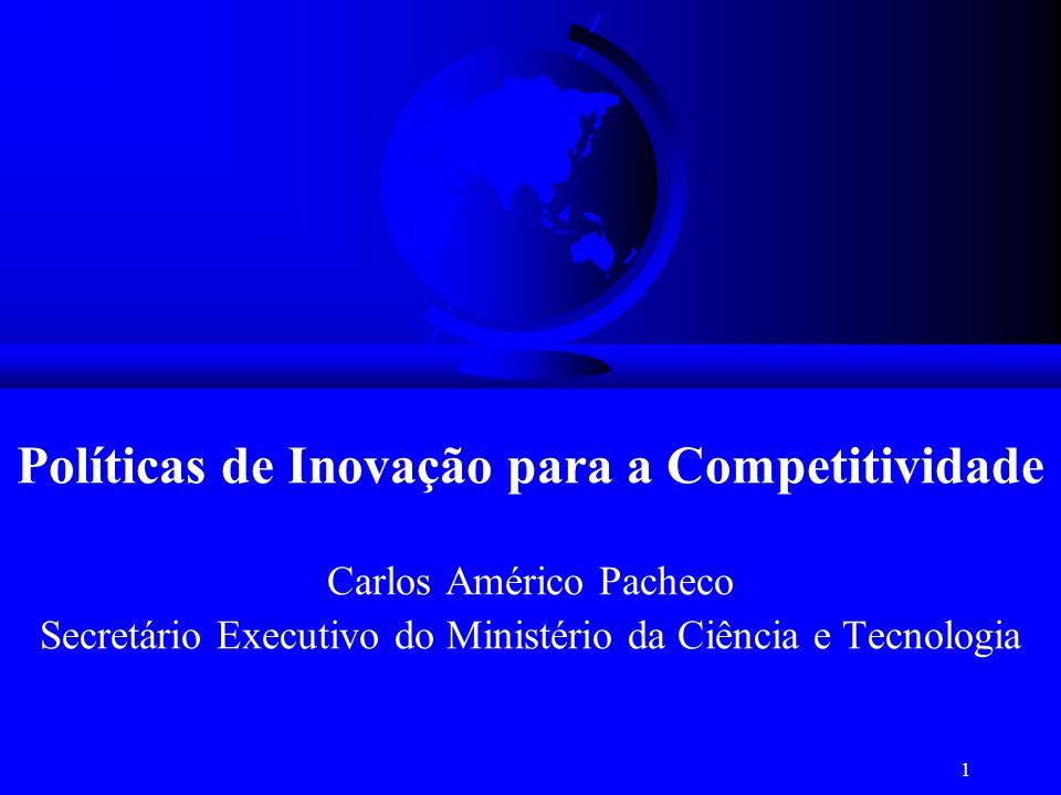 1 Políticas de Inovação para a Competitividade Carlos Américo Pacheco Secretário Executivo do Ministério da Ciência e Tecnologia
