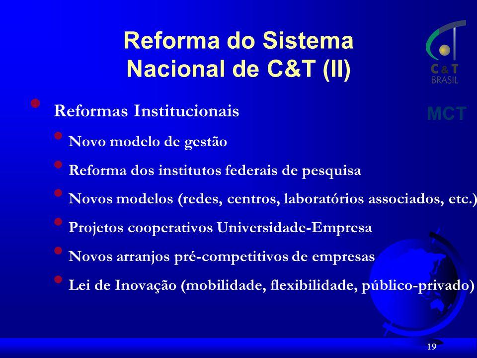 19 Reformas Institucionais Novo modelo de gestão Reforma dos institutos federais de pesquisa Novos modelos (redes, centros, laboratórios associados, etc.) Projetos cooperativos Universidade-Empresa Novos arranjos pré-competitivos de empresas Lei de Inovação (mobilidade, flexibilidade, público-privado) MCT Reforma do Sistema Nacional de C&T (II)