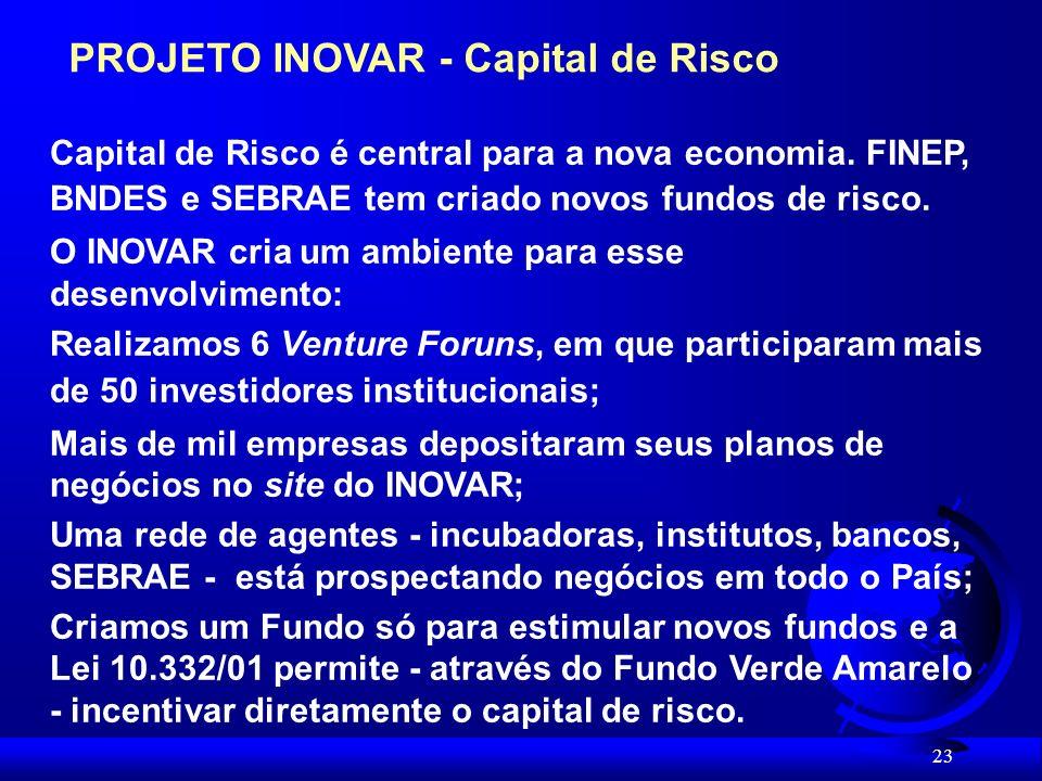 23 PROJETO INOVAR - Capital de Risco Capital de Risco é central para a nova economia.