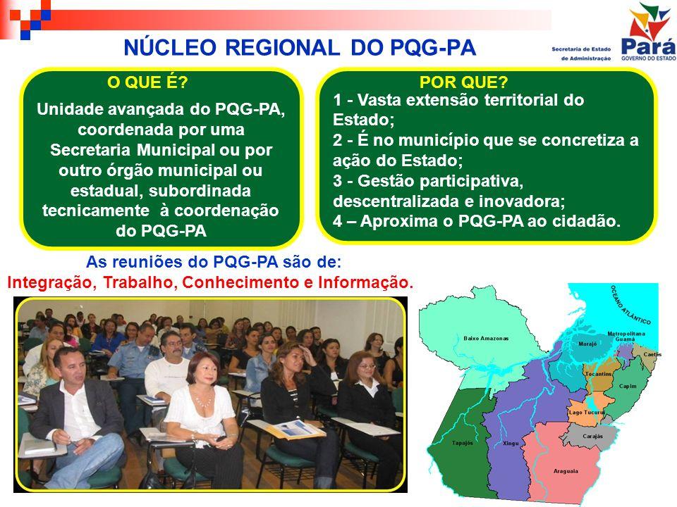 NÚCLEO REGIONAL DO PQG-PA Unidade avançada do PQG-PA, coordenada por uma Secretaria Municipal ou por outro órgão municipal ou estadual, subordinada te