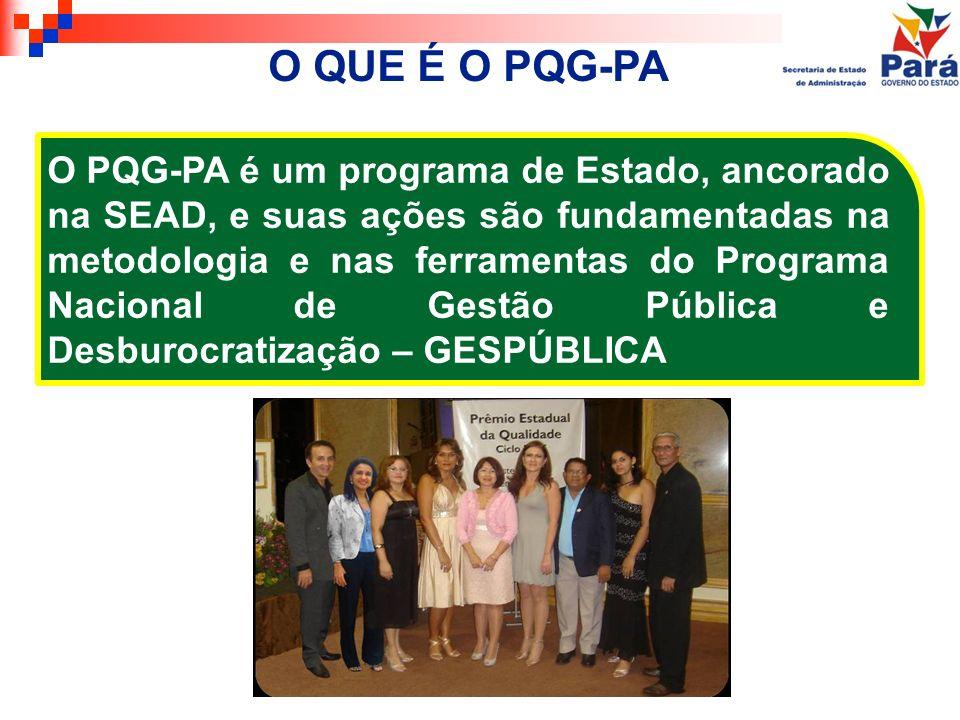 O PQG-PA é um programa de Estado, ancorado na SEAD, e suas ações são fundamentadas na metodologia e nas ferramentas do Programa Nacional de Gestão Púb