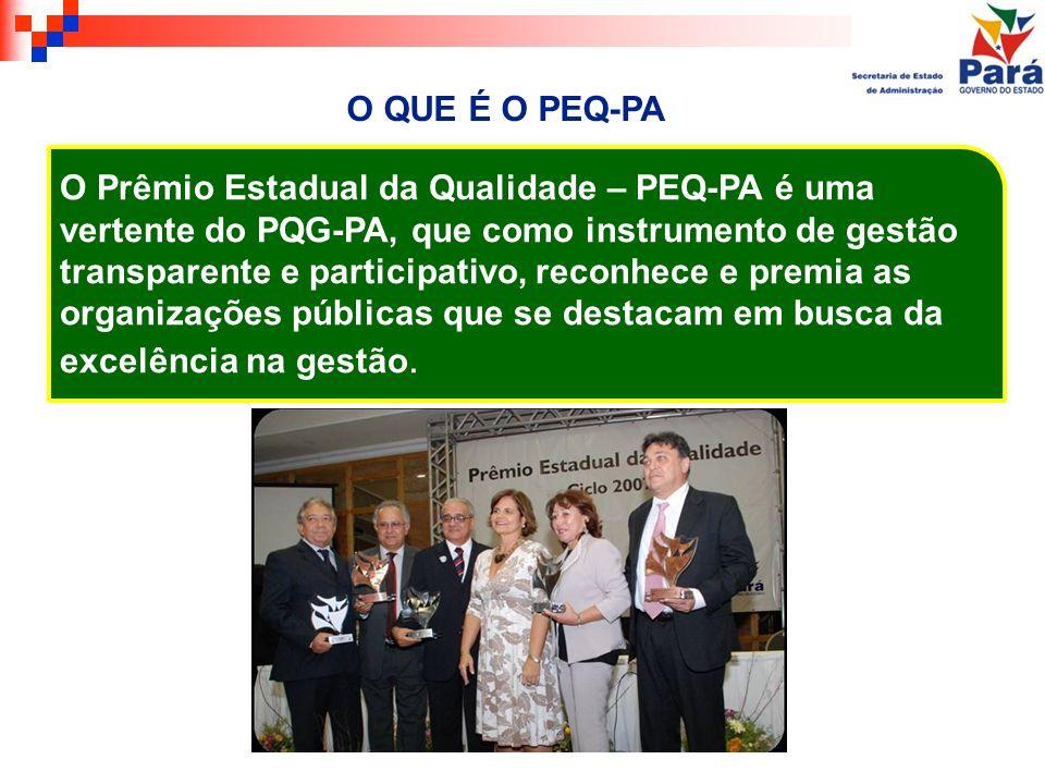 O QUE É O PEQ-PA O Prêmio Estadual da Qualidade – PEQ-PA é uma vertente do PQG-PA, que como instrumento de gestão transparente e participativo, reconh