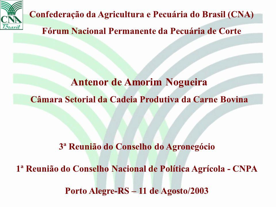 Confederação da Agricultura e Pecuária do Brasil (CNA) Fórum Nacional Permanente da Pecuária de Corte 3ª Reunião do Conselho do Agronegócio 1ª Reunião