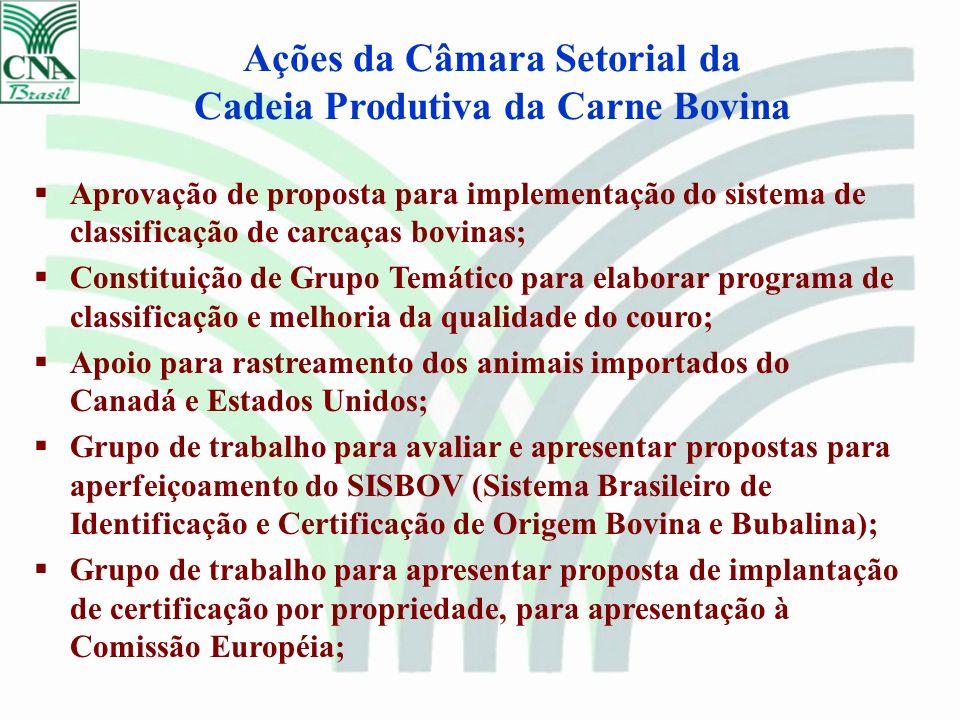 Aprovação de proposta para implementação do sistema de classificação de carcaças bovinas; Constituição de Grupo Temático para elaborar programa de cla