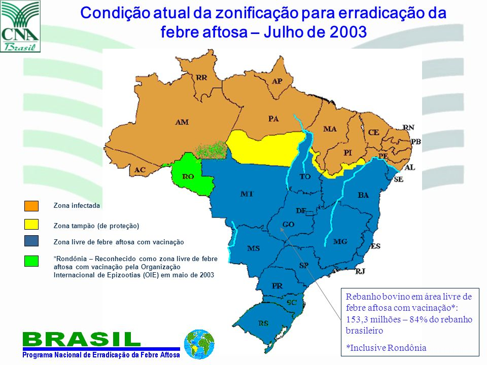 Zona infectada Zona livre de febre aftosa com vacinação Zona tampão (de proteção) *Rondônia – Reconhecido como zona livre de febre aftosa com vacinaçã