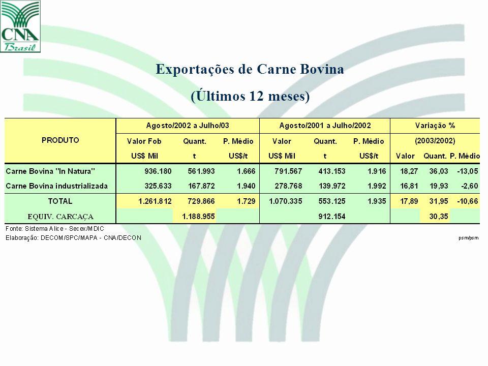 Exportações de Carne Bovina (Últimos 12 meses)