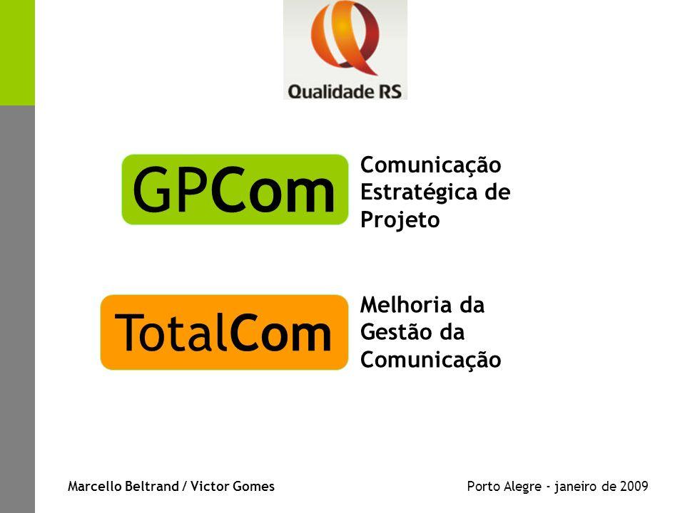 Marcello Beltrand / Victor Gomes Porto Alegre - janeiro de 2009 Comunicação Estratégica de Projeto GPCom Melhoria da Gestão da Comunicação TotalCom