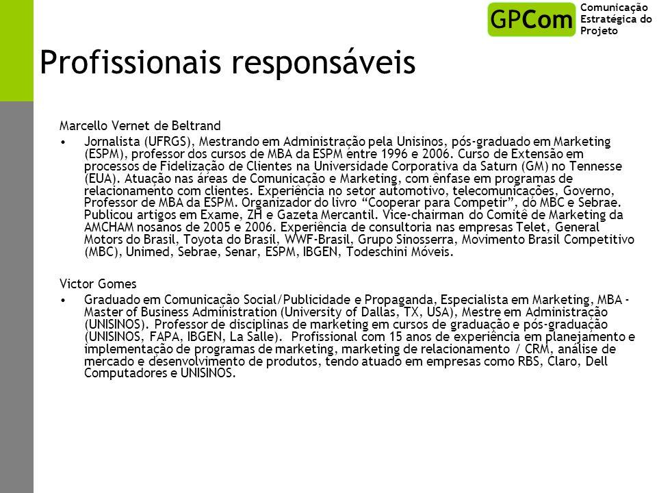 Profissionais responsáveis Marcello Vernet de Beltrand Jornalista (UFRGS), Mestrando em Administração pela Unisinos, pós-graduado em Marketing (ESPM),