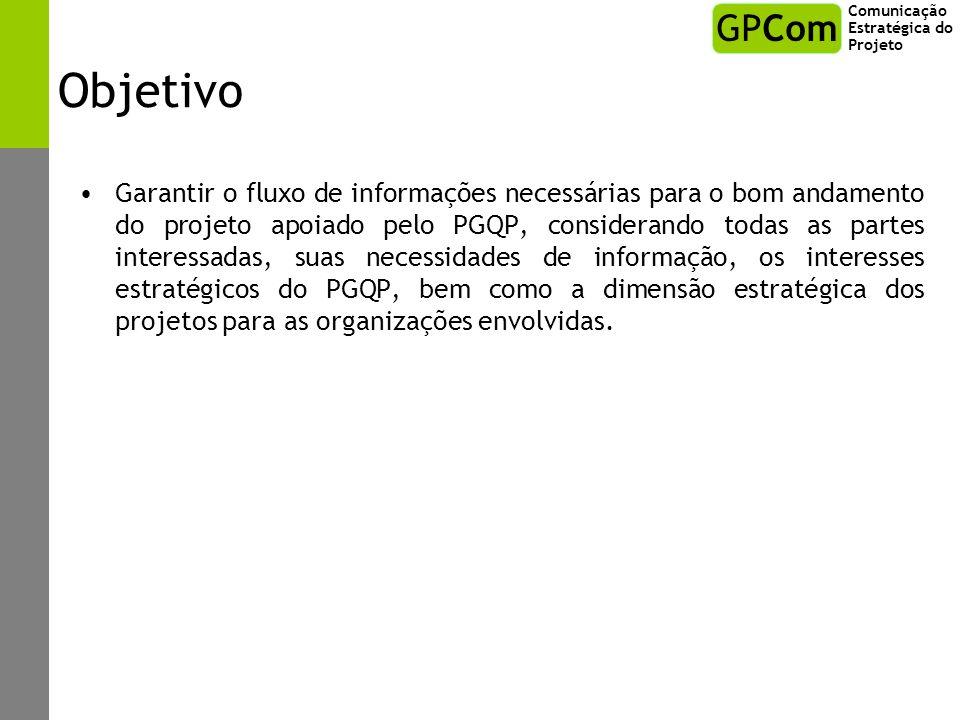 Escopo Concepção, desenvolvimento e implementação de ferramentas e processos de comunicação em projetos apoiados pelo PGQP.