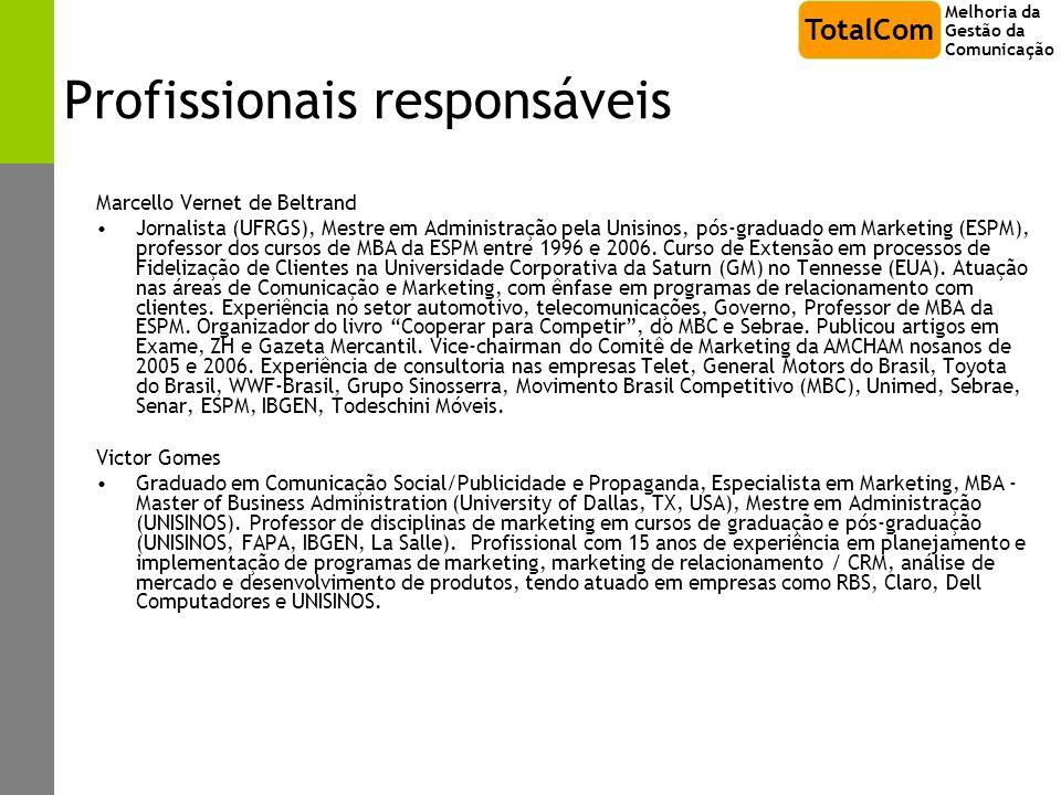 Profissionais responsáveis Marcello Vernet de Beltrand Jornalista (UFRGS), Mestre em Administração pela Unisinos, pós-graduado em Marketing (ESPM), pr