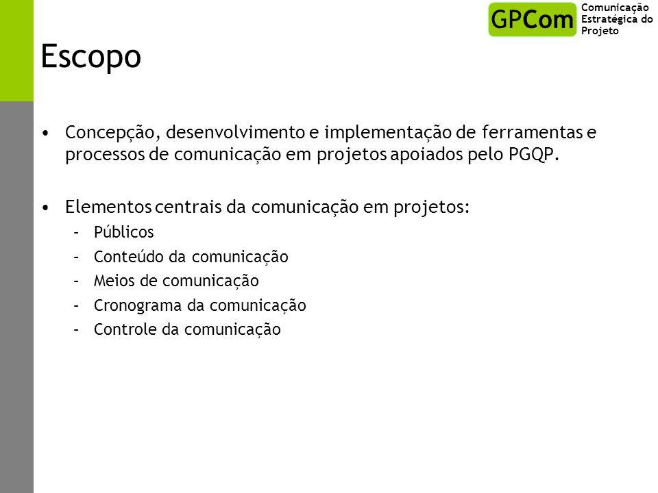 Escopo Concepção, desenvolvimento e implementação de ferramentas e processos de comunicação em projetos apoiados pelo PGQP. Elementos centrais da comu