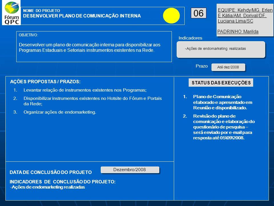AÇÕES PROPOSTAS / PRAZOS: OBJETIVO: Desenvolver um plano de comunicação interna para disponibilizar aos Programas Estaduais e Setoriais instrumentos e