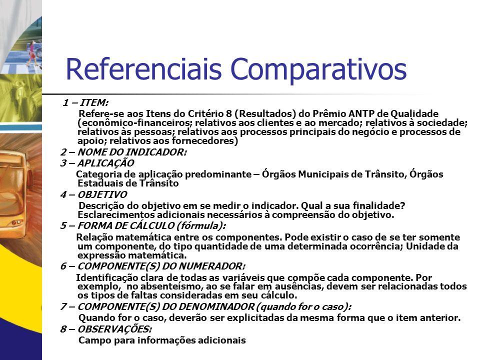 Referenciais Comparativos ESTRUTURA DE INDICADORES 8.1 – Econômico-financeiros 8.2 – Relativos aos clientes e ao mercado 8.3 – Relativos à sociedade 8