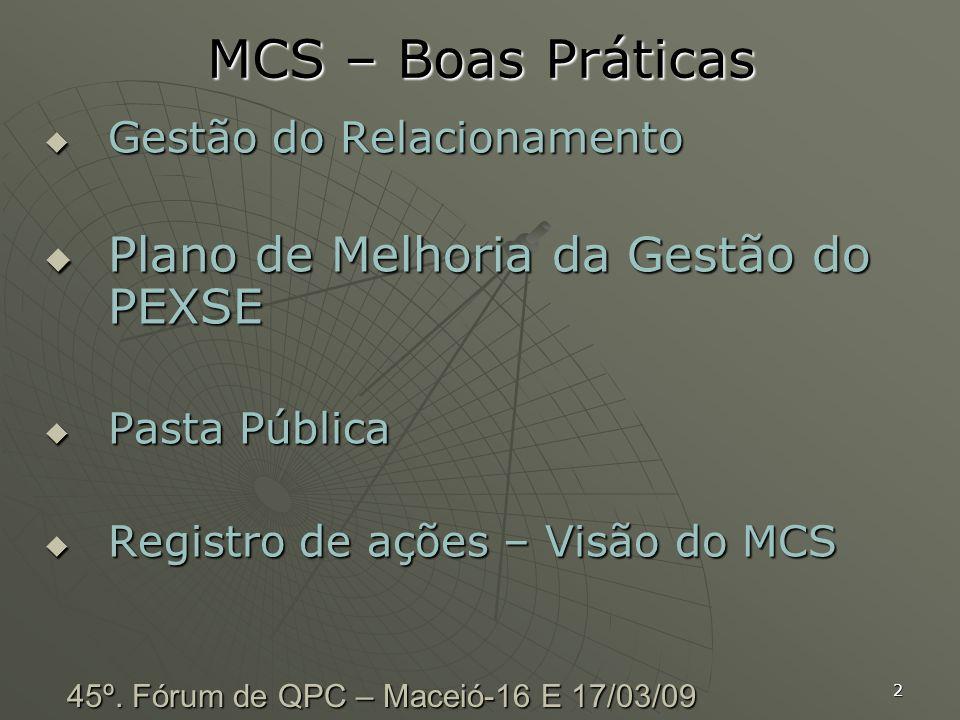 2 MCS – Boas Práticas Gestão do Relacionamento Gestão do Relacionamento Plano de Melhoria da Gestão do PEXSE Plano de Melhoria da Gestão do PEXSE Past