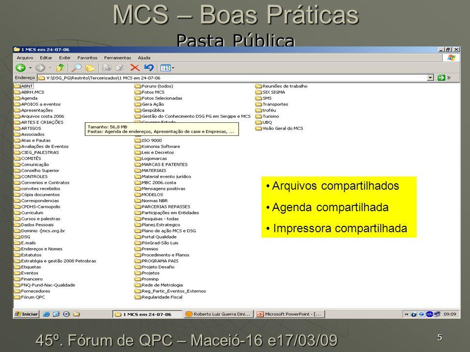 5 MCS – Boas Práticas Pasta Pública 45º. Fórum de QPC – Maceió-16 e17/03/09 Arquivos compartilhados Agenda compartilhada Impressora compartilhada