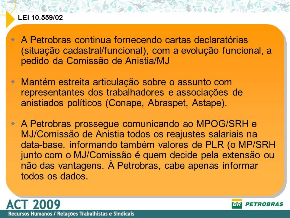 A Petrobras continua fornecendo cartas declaratórias (situação cadastral/funcional), com a evolução funcional, a pedido da Comissão de Anistia/MJ Mantém estreita articulação sobre o assunto com representantes dos trabalhadores e associações de anistiados políticos (Conape, Abraspet, Astape).