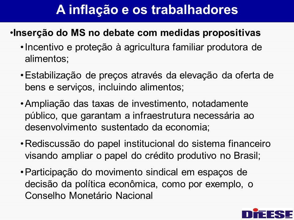 Inserção do MS no debate com medidas propositivas Incentivo e proteção à agricultura familiar produtora de alimentos; Estabilização de preços através da elevação da oferta de bens e serviços, incluindo alimentos; Ampliação das taxas de investimento, notadamente público, que garantam a infraestrutura necessária ao desenvolvimento sustentado da economia; Rediscussão do papel institucional do sistema financeiro visando ampliar o papel do crédito produtivo no Brasil; Participação do movimento sindical em espaços de decisão da política econômica, como por exemplo, o Conselho Monetário Nacional A inflação e os trabalhadores