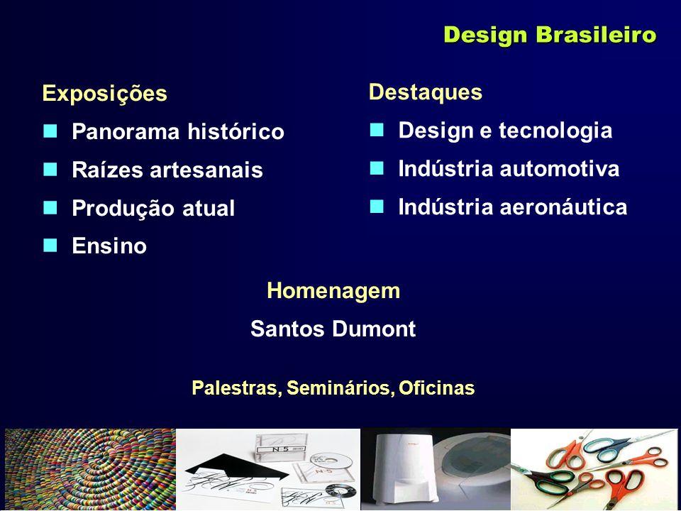 Exposições Panorama histórico Raízes artesanais Produção atual Ensino Design Brasileiro Destaques Design e tecnologia Indústria automotiva Indústria a