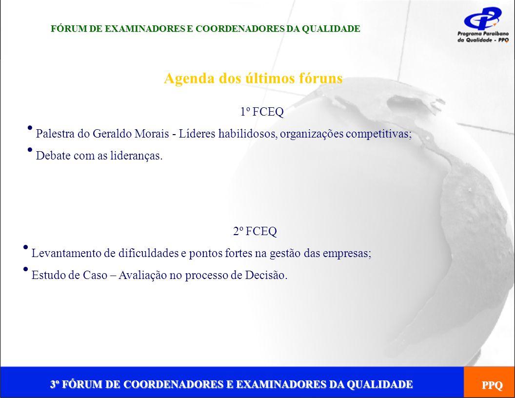 3º FÓRUM DE COORDENADORES E EXAMINADORES DA QUALIDADE PPQ Agenda dos últimos fóruns FÓRUM DE EXAMINADORES E COORDENADORES DA QUALIDADE 1º FCEQ Palestr