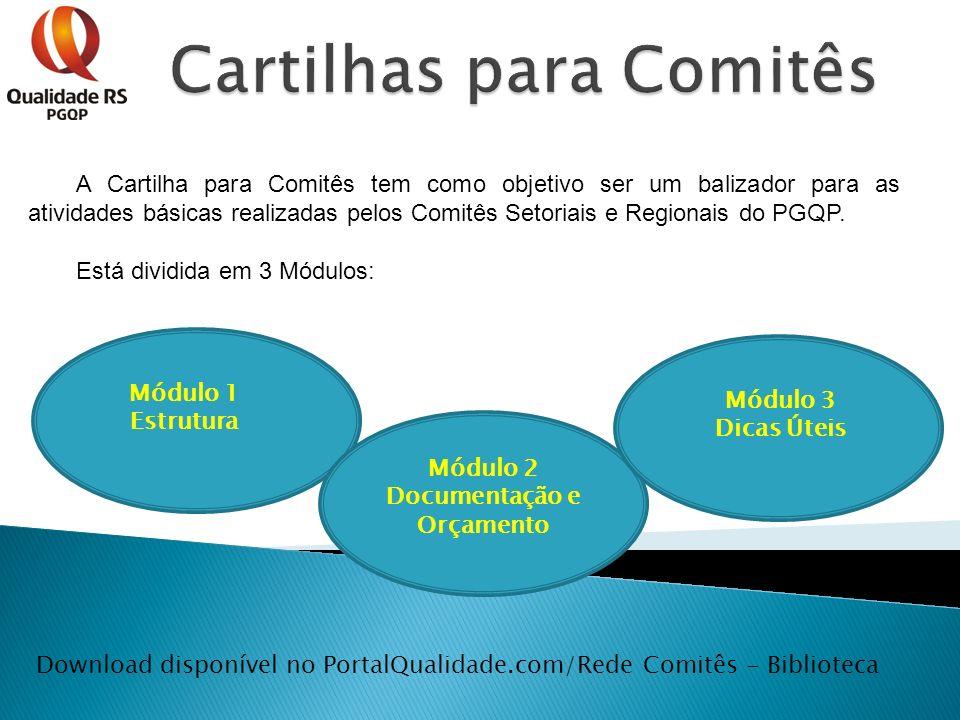 A Cartilha para Comitês tem como objetivo ser um balizador para as atividades básicas realizadas pelos Comitês Setoriais e Regionais do PGQP. Está div