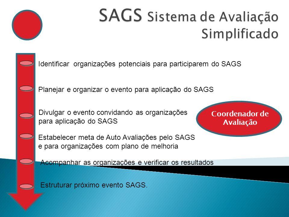 Identificar organizações potenciais para participarem do SAGS Planejar e organizar o evento para aplicação do SAGS Divulgar o evento convidando as org