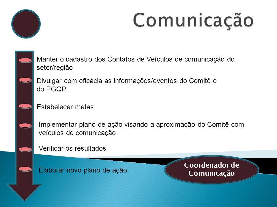 Manter o cadastro dos Contatos de Veículos de comunicação do setor/região Estabelecer metas Verificar os resultados Elaborar novo plano de ação. Imple