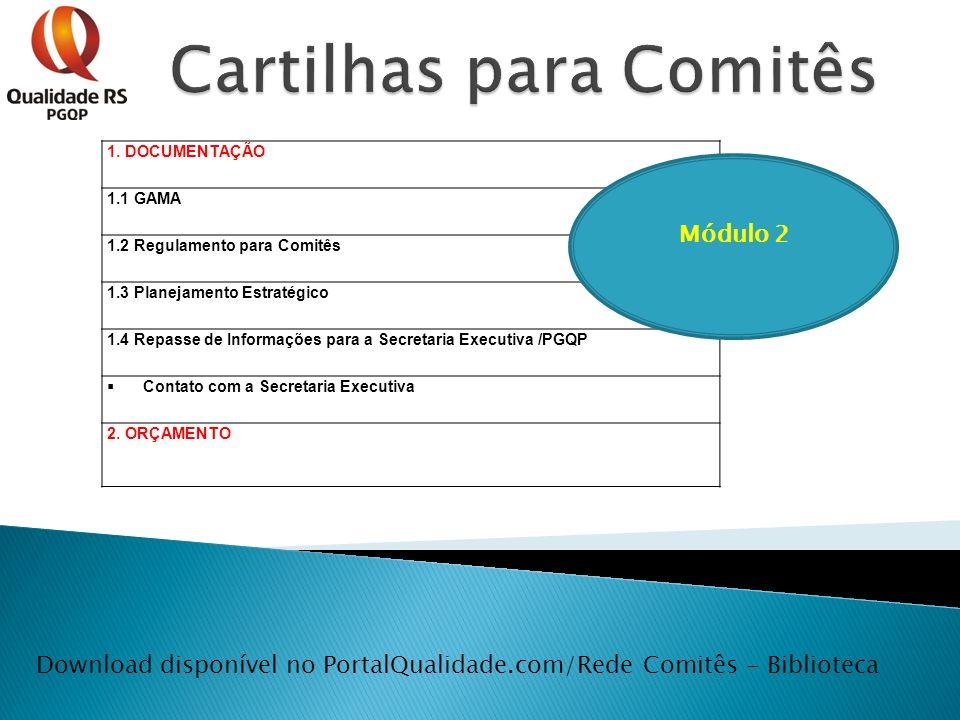 Download disponível no PortalQualidade.com/Rede Comitês - Biblioteca 1. DOCUMENTAÇÃO 1.1 GAMA 1.2 Regulamento para Comitês 1.3 Planejamento Estratégic