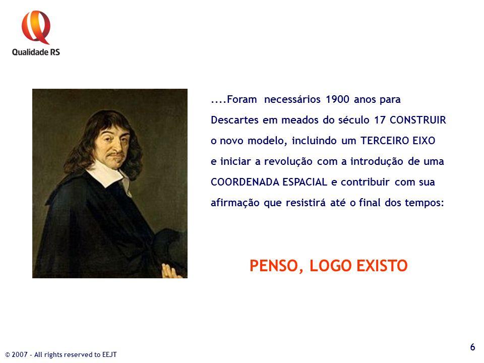 ....Foram necessários 1900 anos para Descartes em meados do século 17 CONSTRUIR o novo modelo, incluindo um TERCEIRO EIXO e iniciar a revolução com a