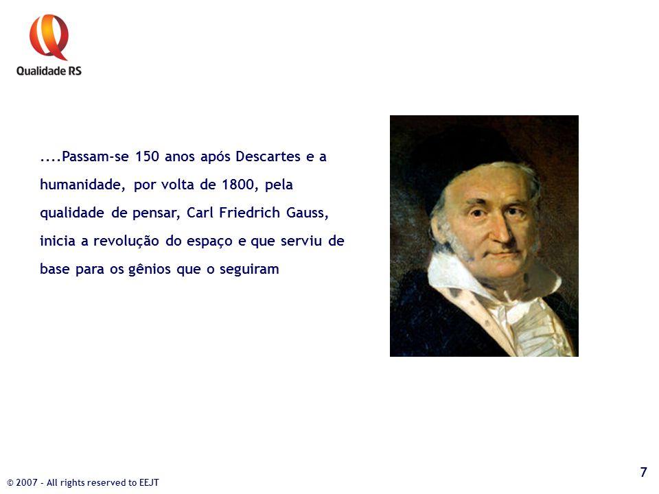 ....Passam-se 150 anos após Descartes e a humanidade, por volta de 1800, pela qualidade de pensar, Carl Friedrich Gauss, inicia a revolução do espaço
