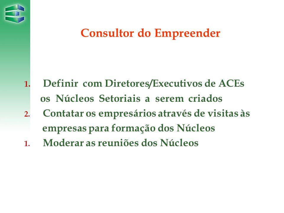 1. Definir com Diretores/Executivos de ACEs os Núcleos Setoriais a serem criados 2. Contatar os empresários através de visitas às empresas para formaç