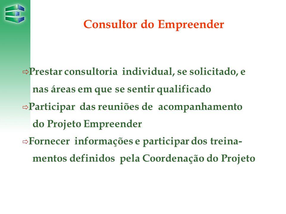 Prestar consultoria individual, se solicitado, e nas áreas em que se sentir qualificado Participar das reuniões de acompanhamento do Projeto Empreende