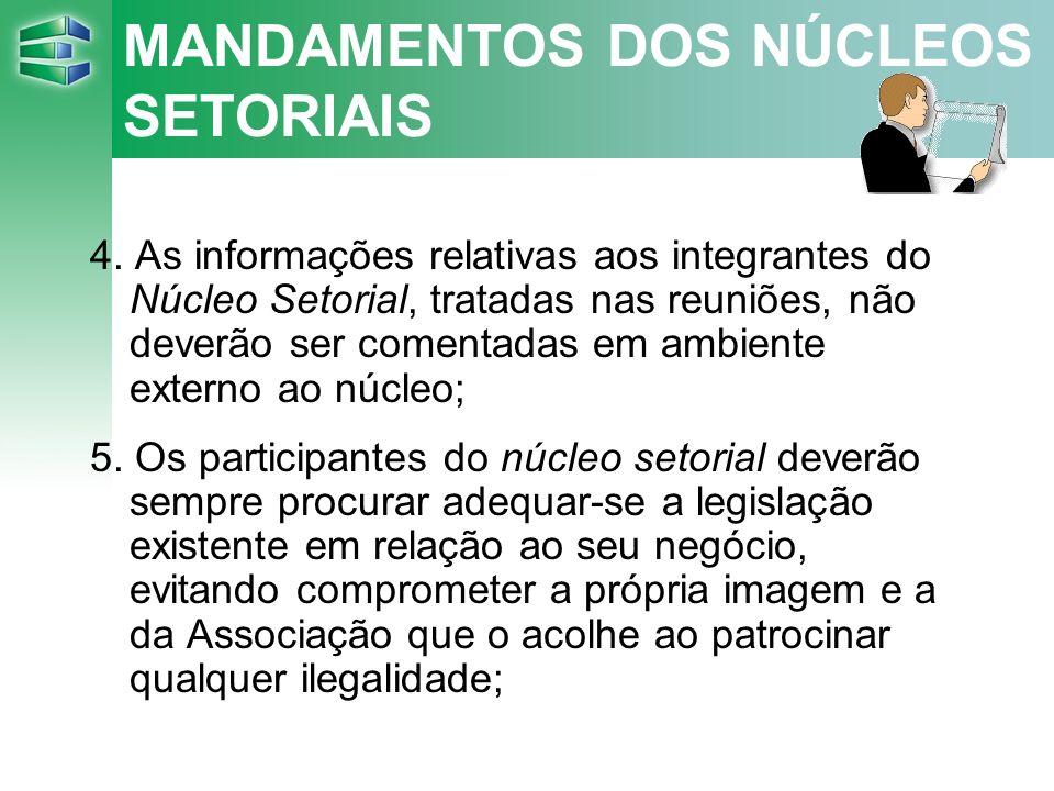 MANDAMENTOS DOS NÚCLEOS SETORIAIS 4.