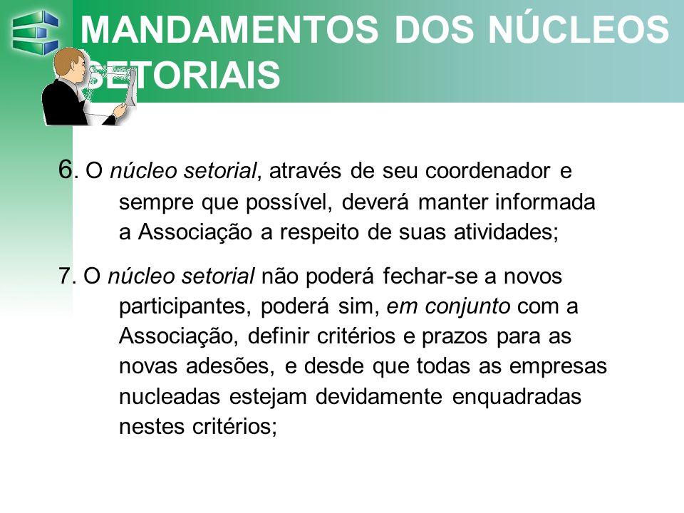 MANDAMENTOS DOS NÚCLEOS SETORIAIS 6.