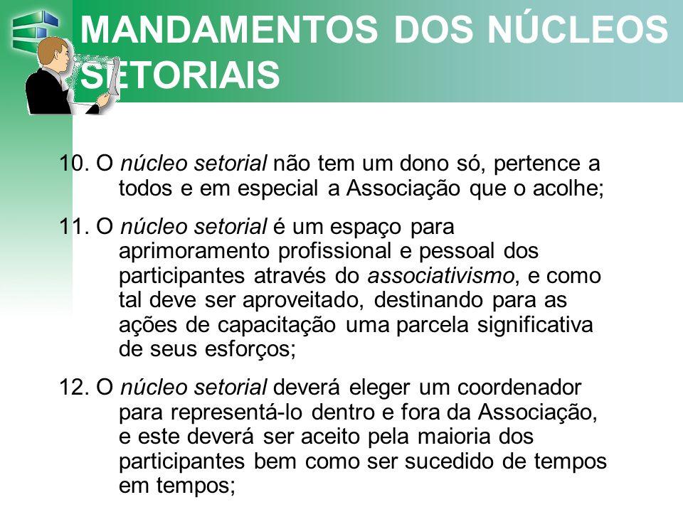MANDAMENTOS DOS NÚCLEOS SETORIAIS 10.