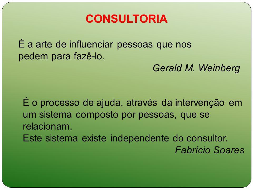 CONSULTORIA É a arte de influenciar pessoas que nos pedem para fazê-lo. Gerald M. Weinberg É o processo de ajuda, através da intervenção em um sistema