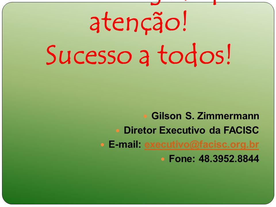 Muito obrigado pela atenção! Sucesso a todos! Gilson S. Zimmermann Diretor Executivo da FACISC E-mail: executivo@facisc.org.brexecutivo@facisc.org.br