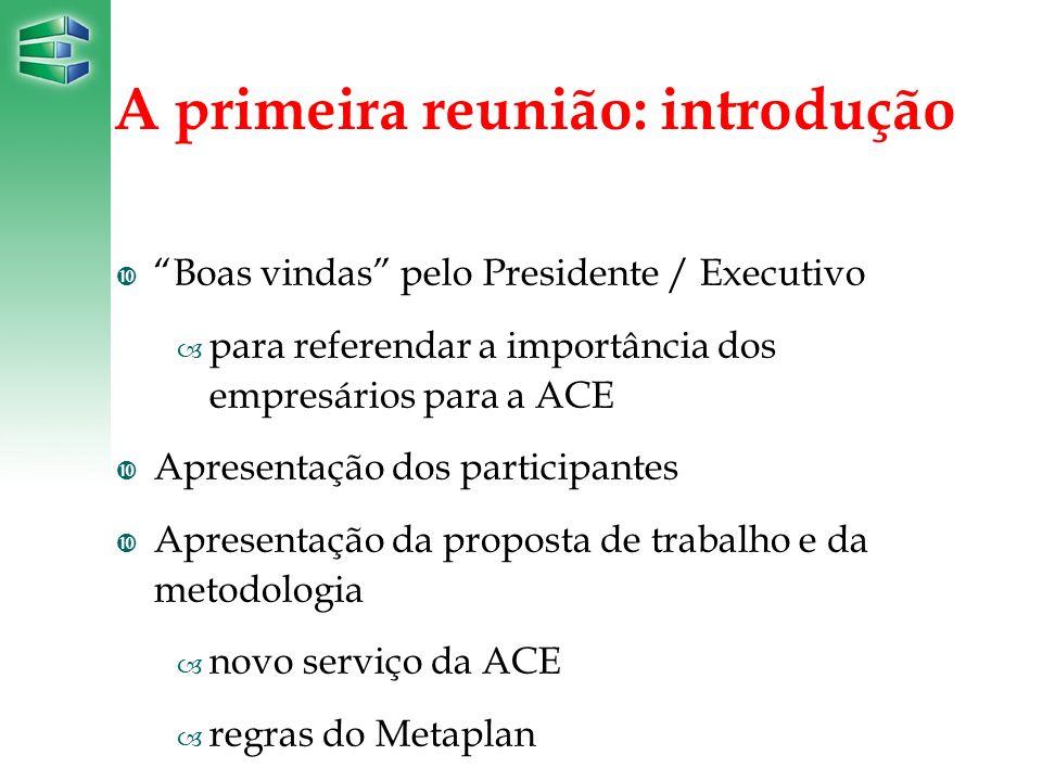 A primeira reunião: introdução Boas vindas pelo Presidente / Executivo – para referendar a importância dos empresários para a ACE Apresentação dos par