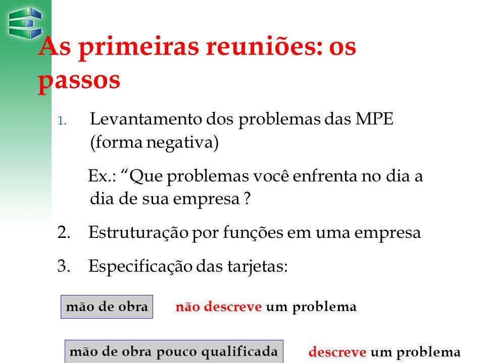 As primeiras reuniões: os passos 1. Levantamento dos problemas das MPE (forma negativa) Ex.: Que problemas você enfrenta no dia a dia de sua empresa ?