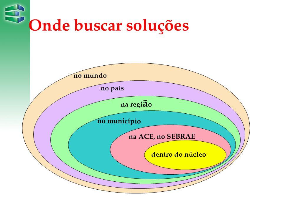 Onde buscar soluções dentro do núcleo na ACE, no SEBRAE no município na regi ã o no país no mundo