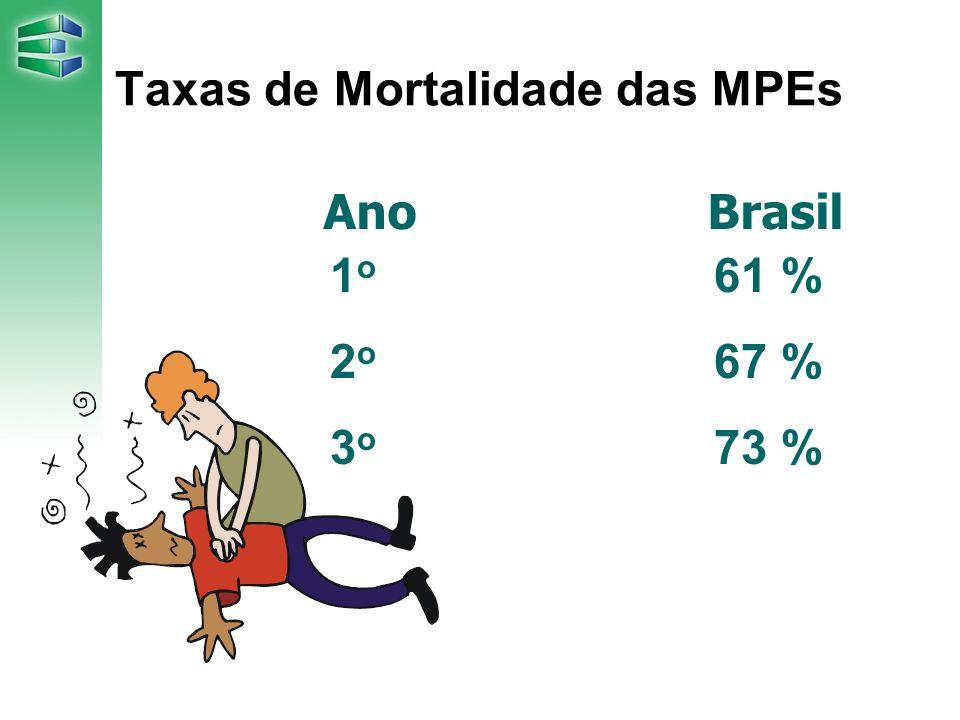 Taxas de Mortalidade das MPEs 1 o 61 % 2 o 67 % 3 o 73 % AnoBrasil