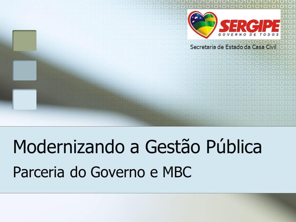 Modernizando a Gestão Pública Parceria do Governo e MBC Secretaria de Estado da Casa Civil