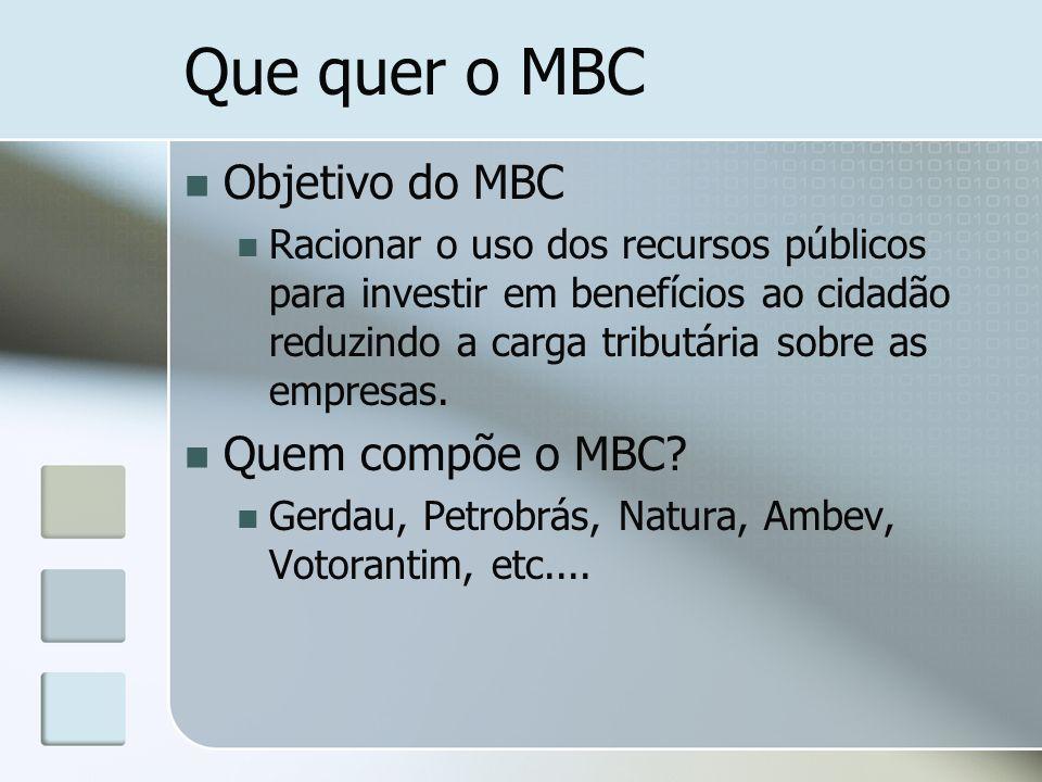 Que quer o MBC Objetivo do MBC Racionar o uso dos recursos públicos para investir em benefícios ao cidadão reduzindo a carga tributária sobre as empre