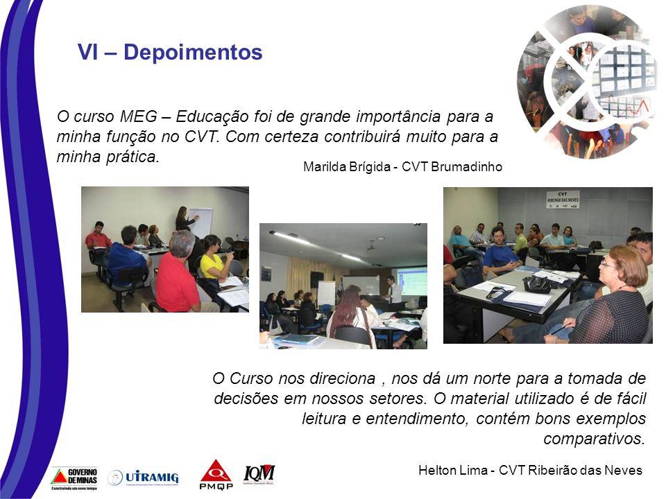 VI – Depoimentos O curso MEG – Educação foi de grande importância para a minha função no CVT.