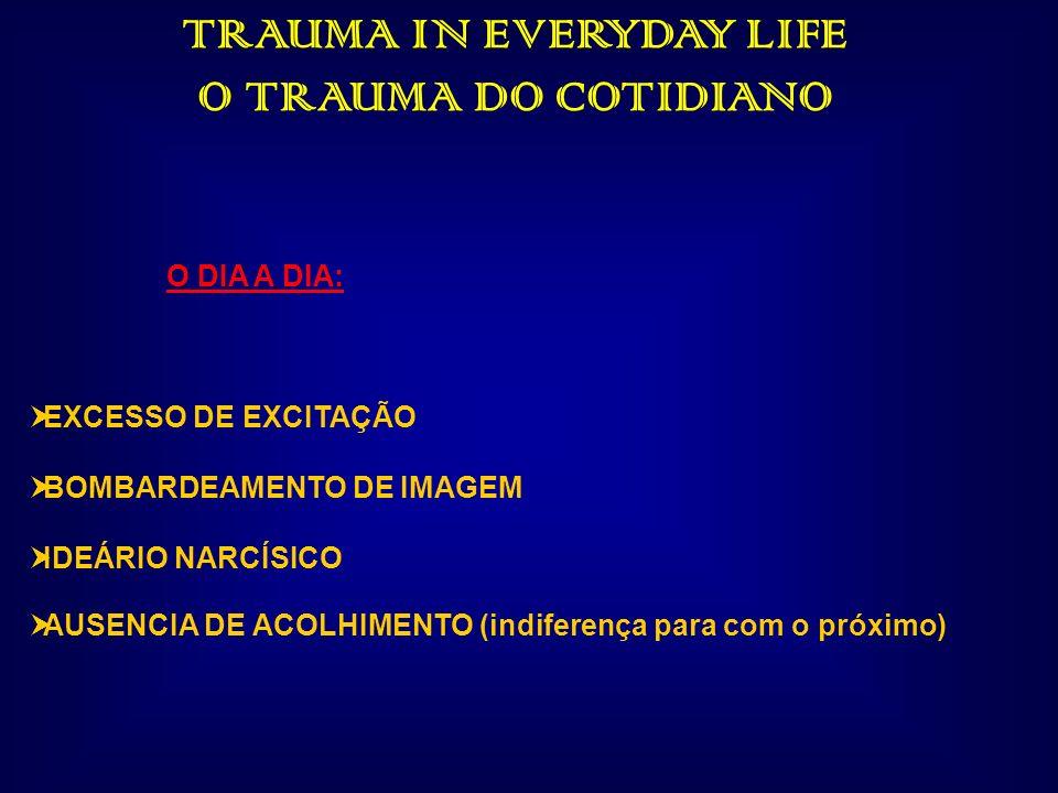 TRAUMA IN EVERYDAY LIFE O TRAUMA DO COTIDIANO O DIA A DIA: EXCESSO DE EXCITAÇÃO BOMBARDEAMENTO DE IMAGEM IDEÁRIO NARCÍSICO AUSENCIA DE ACOLHIMENTO (in