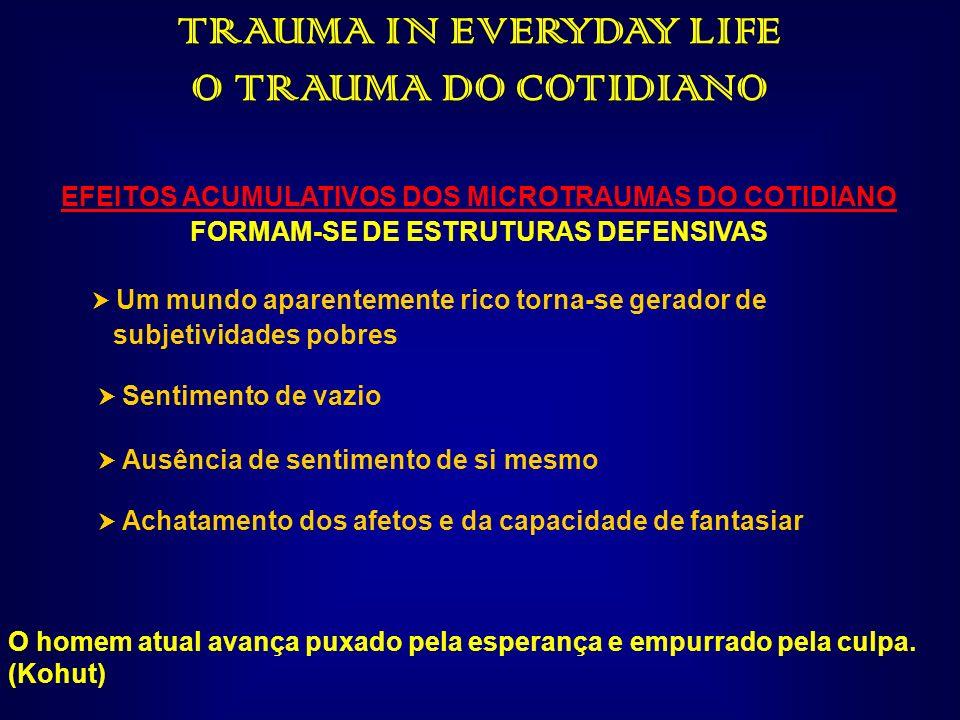 TRAUMA IN EVERYDAY LIFE O TRAUMA DO COTIDIANO EFEITOS ACUMULATIVOS DOS MICROTRAUMAS DO COTIDIANO FORMAM-SE DE ESTRUTURAS DEFENSIVAS Um mundo aparentem