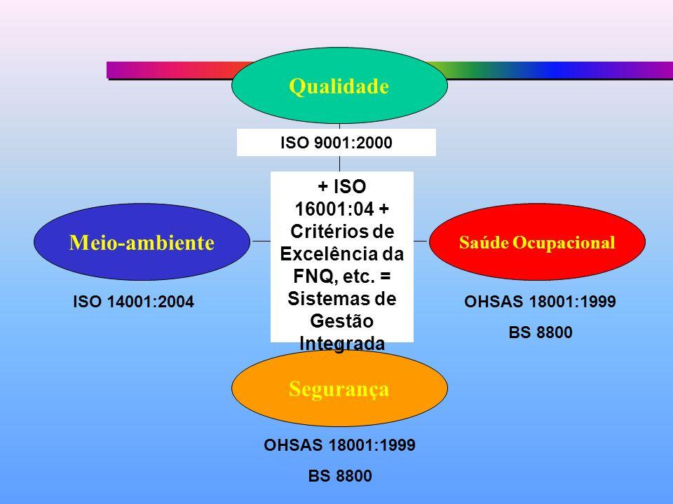 Qualidade Meio-ambiente Segurança Saúde Ocupacional ISO 9001:2000 ISO 14001:2004OHSAS 18001:1999 BS 8800 OHSAS 18001:1999 BS 8800 + ISO 16001:04 + Cri