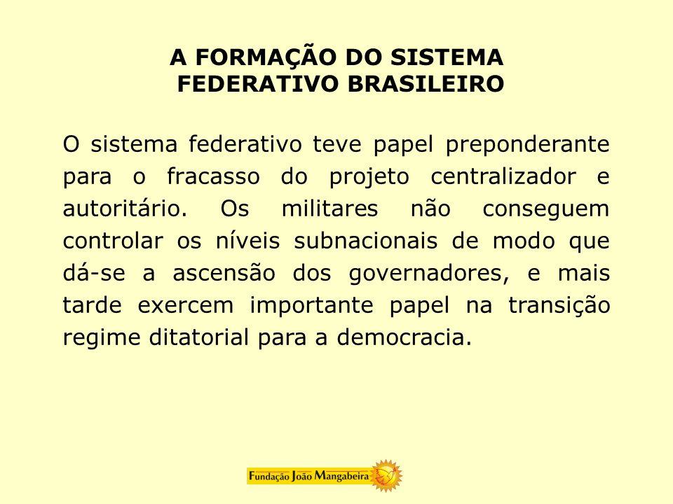 O sistema federativo teve papel preponderante para o fracasso do projeto centralizador e autoritário. Os militares não conseguem controlar os níveis s