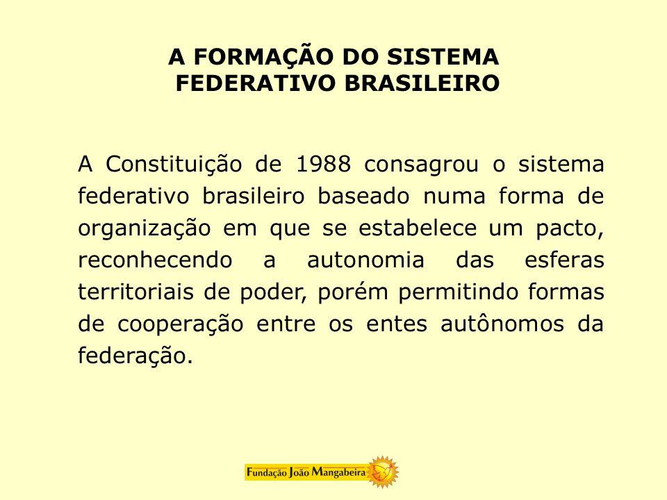 A Constituição de 1988 consagrou o sistema federativo brasileiro baseado numa forma de organização em que se estabelece um pacto, reconhecendo a auton
